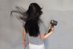この長さの髪もあっという間に乾きます